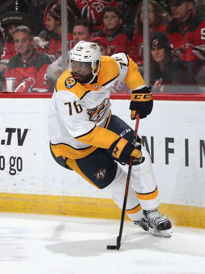 NEWARK, NEW JERSEY - OCTOBER 25: P.K. Subban #76 of the Nashville Predators skates against the New Jersey Devils at the Prudential Center on October 25, 2018 in Newark, New Jersey. (Photo by Bruce Bennett/Getty Images)