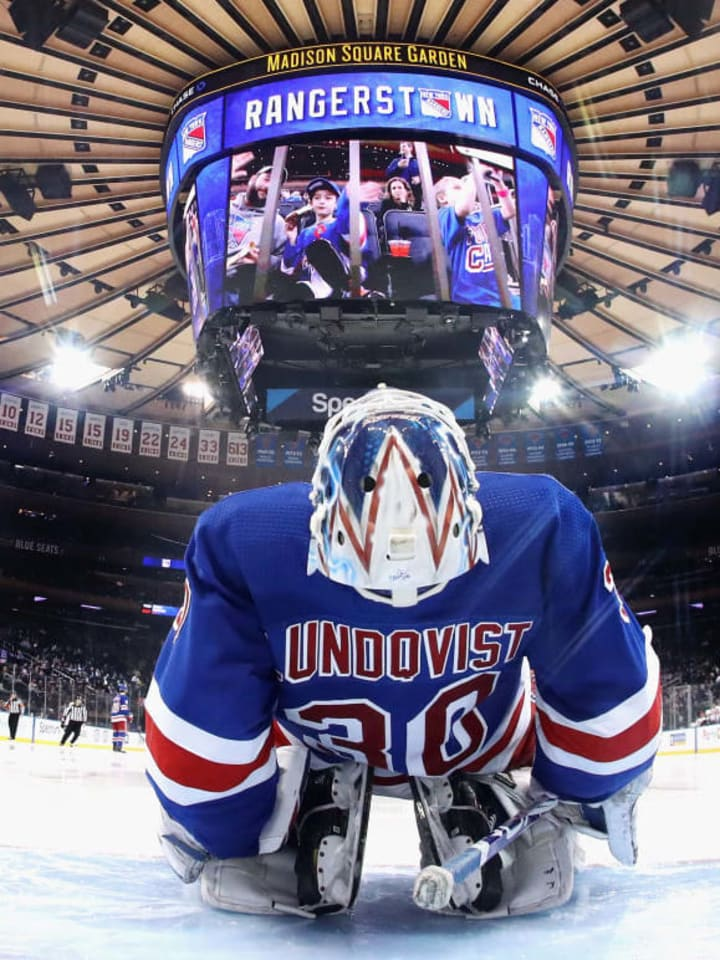 NEW YORK, NEW YORK - APRIL 03: Henrik Lundqvist #30 of the New York Rangers prepares to play against the Ottawa Senators at the start of the third period at Madison Square Garden on April 03, 2019 in New York City. The Senators defeated the Rangers 4-1.  (Photo by Bruce Bennett/Getty Images)