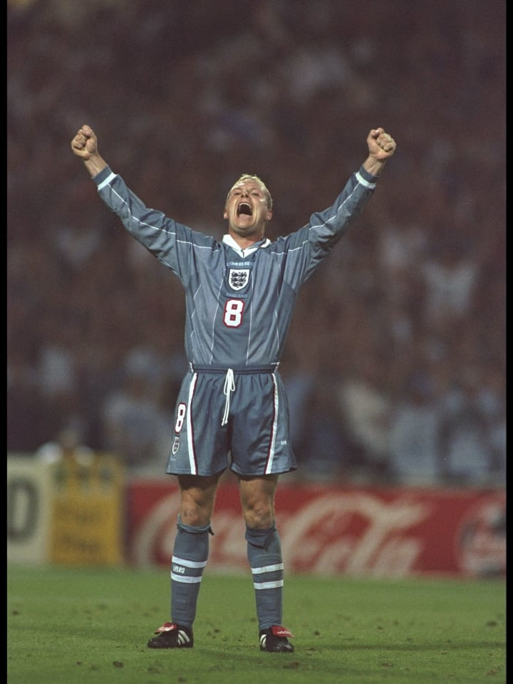 Paul Gascoigne of England celebrates