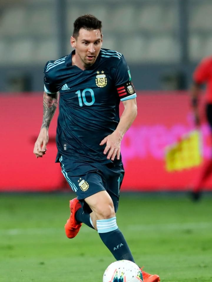 Messi in action against Peru
