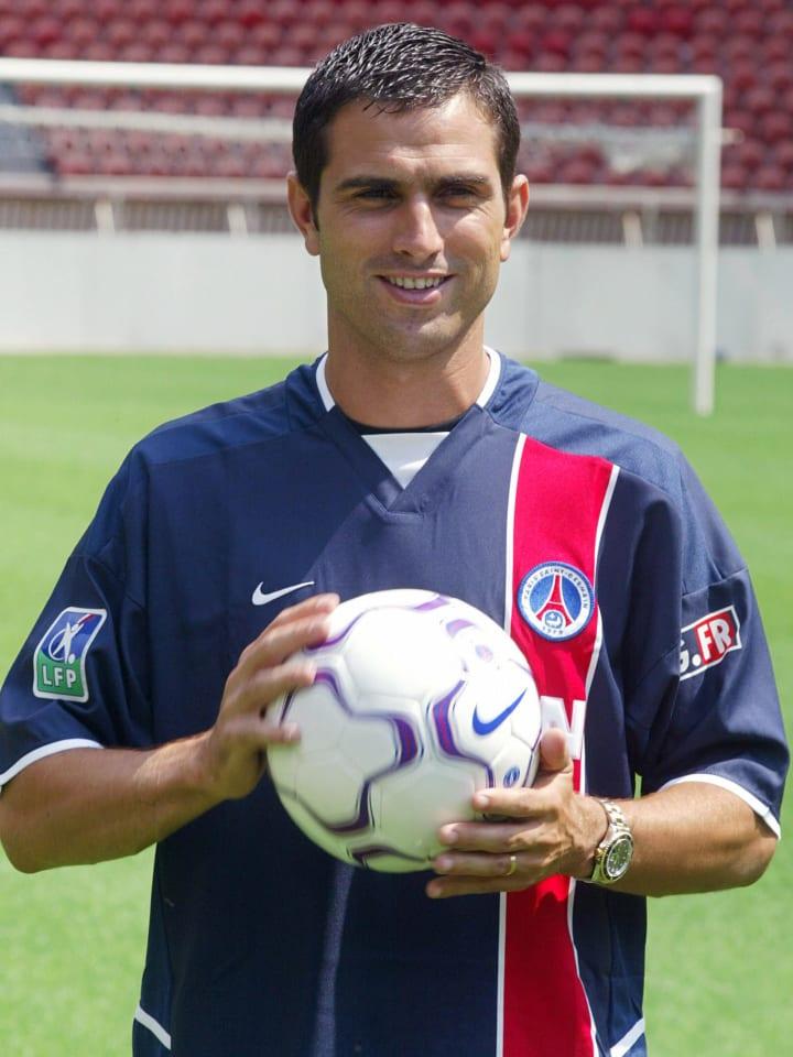 Portuguese striker Pauleta, wearing his