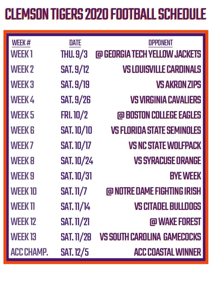 Printable Clemson Football Schedule 2020