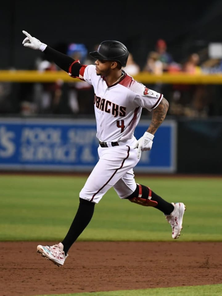 PHOENIX, ARIZONA - SEPTEMBER 02: Ketel Marte #4 of the Arizona Diamondbacks rounds the bases after hitting a two run home run off of Cal Quantrill #40 of the San Diego Padres during the second inning at Chase Field on September 02, 2019 in Phoenix, Arizona. (Photo by Norm Hall/Getty Images)