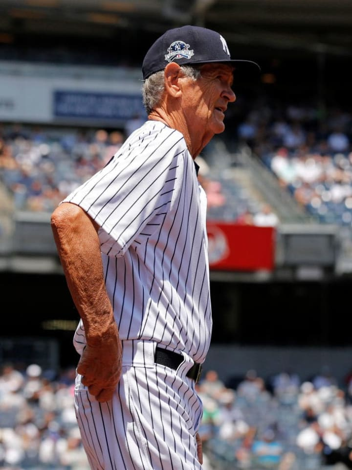 NEW YORK, NY - JUNE 25: Former player Ralph Terry of the New York Yankees is introduced during the New York Yankees 71st Old Timers Day game before the Yankees play against the Texas Rangers at Yankee Stadium on June 25, 2017 in the Bronx borough of New York City. (Photo by Adam Hunger/Getty Images)