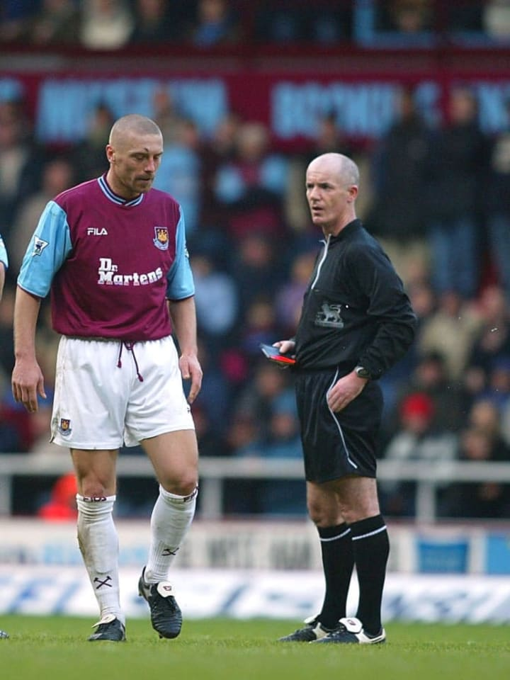 Thomas Repka of West Ham is sent off