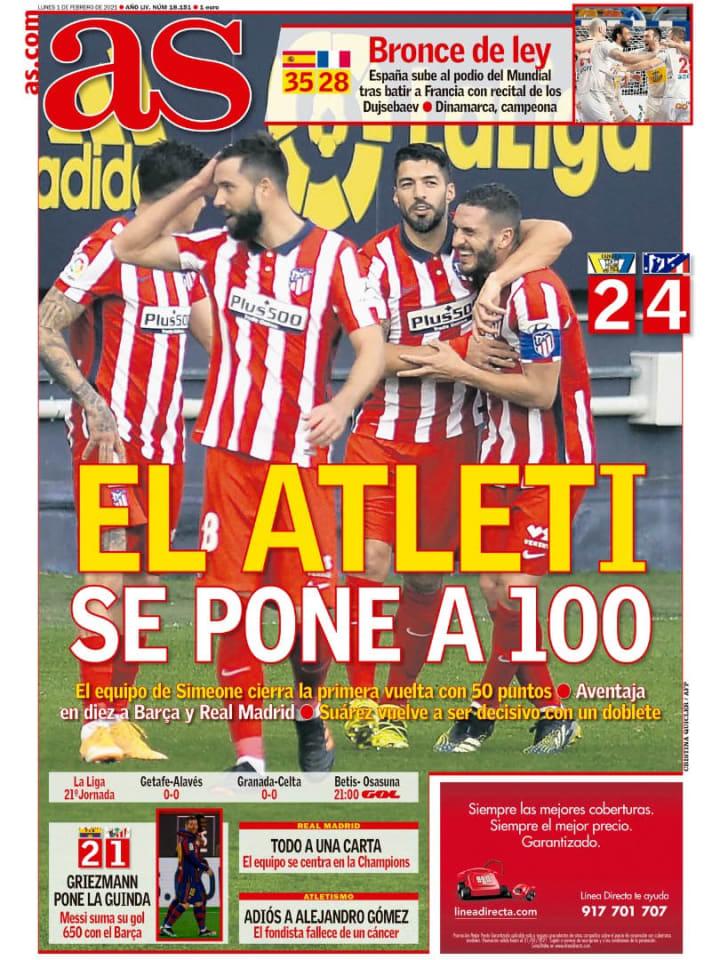 Las victorias de Atlético de Madrid y FC Barcelona, con reivindicación de Luis Suárez y Lionel Messi, en portada 3
