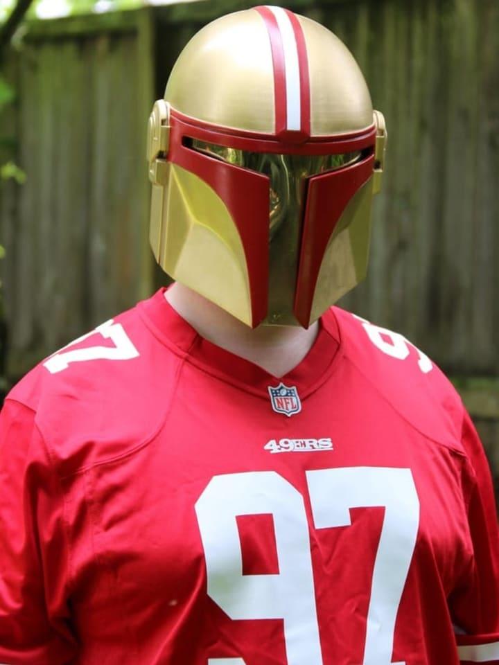 49ers style Boba Fett helmet.