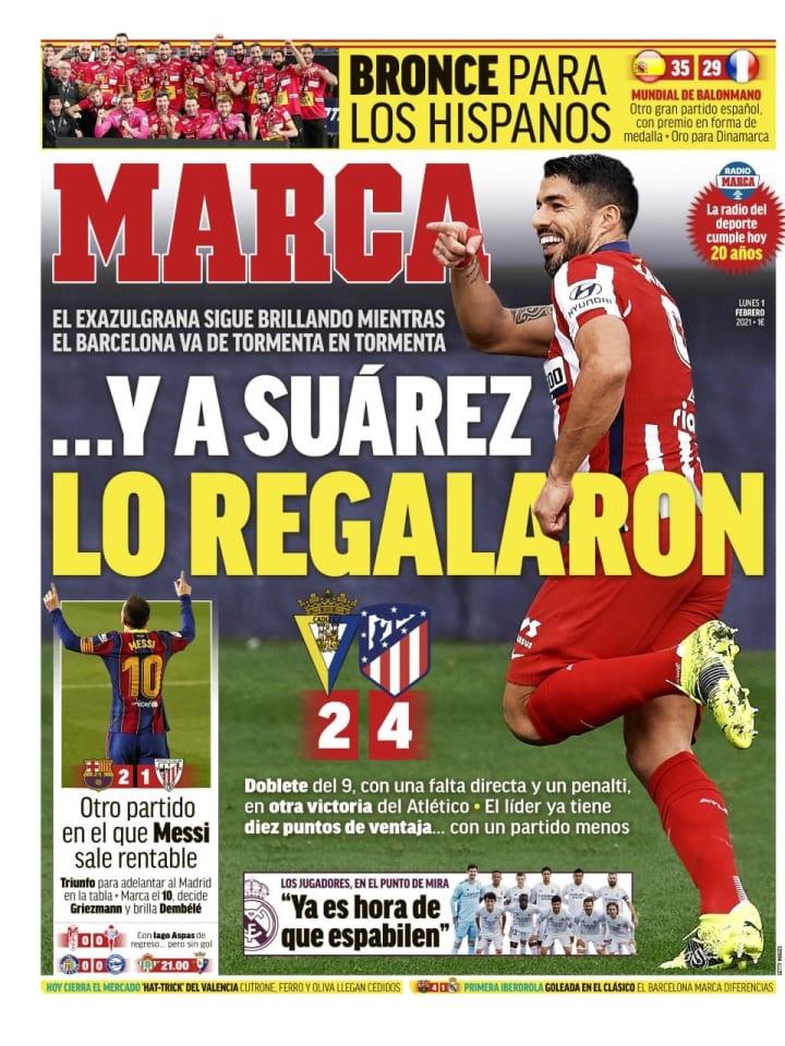 Las victorias de Atlético de Madrid y FC Barcelona, con reivindicación de Luis Suárez y Lionel Messi, en portada 1