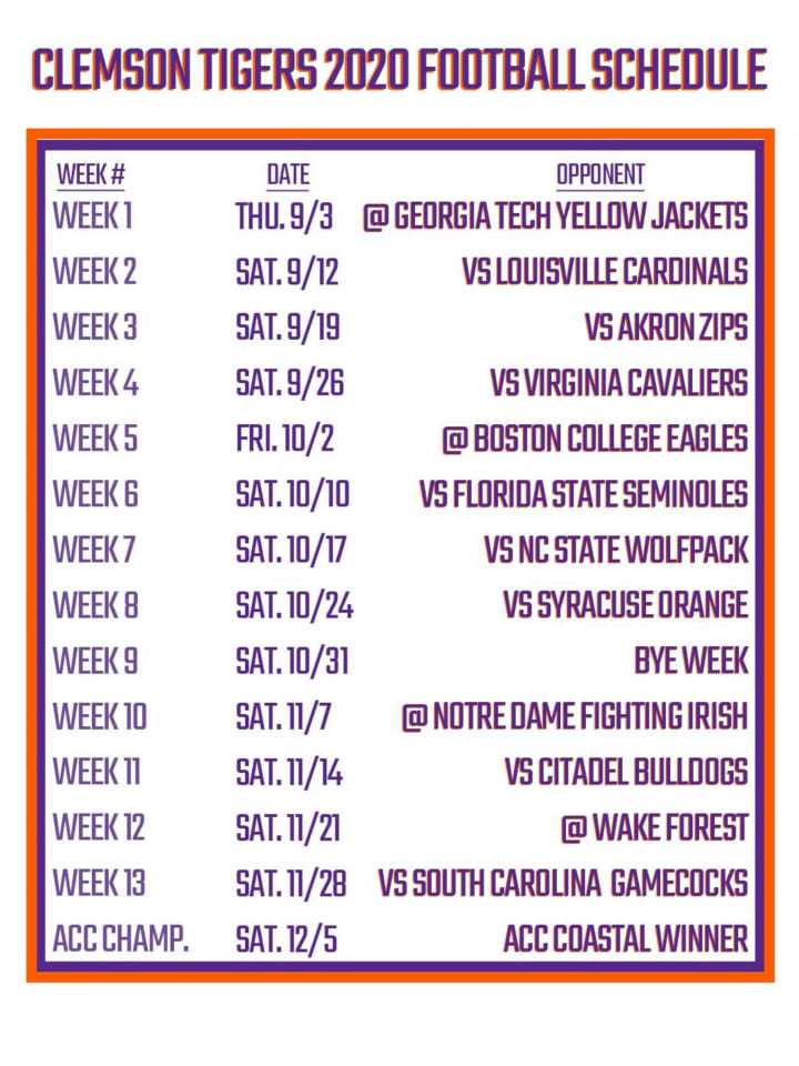 Predictions For Clemson S 7 Biggest Games Of The 2020 College Football Season