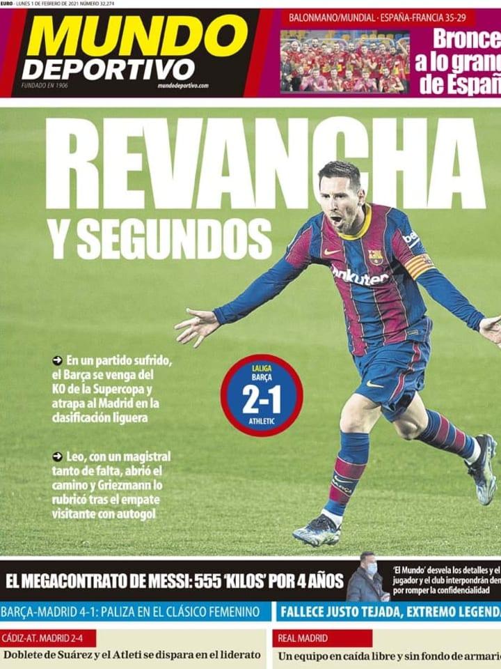 Las victorias de Atlético de Madrid y FC Barcelona, con reivindicación de Luis Suárez y Lionel Messi, en portada 2