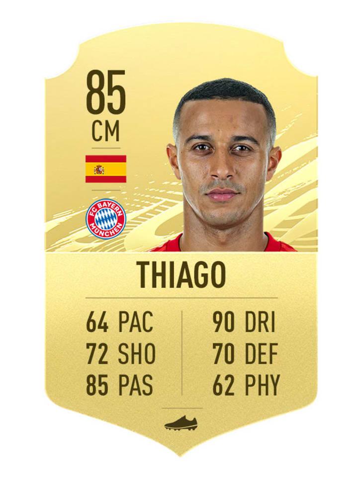 Thiago Alcantara's FIFA 21 Rating