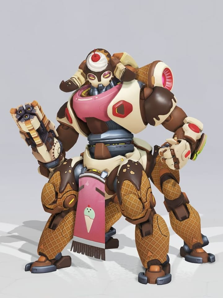 Making your opponents crave dessert is an extra advantage when donning the Ice Cream Orisa skin.