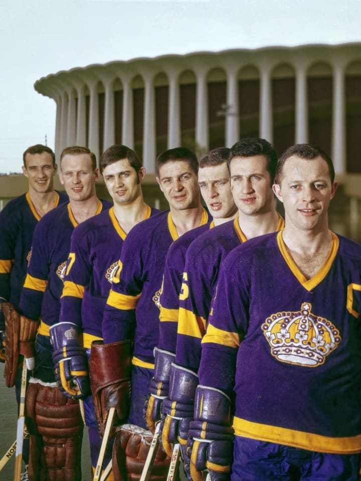 Hockey: (R-L) Portrait of Los Angeles Kings Bob Wall (2), Ed Joyal, Real Lemieux , goalie Terry Sawchuk (30), Bill Flett (7), goalie Wayne Rutledge (1