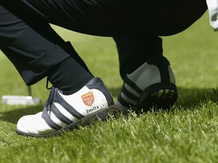 Ian Poulter of England golf shoes