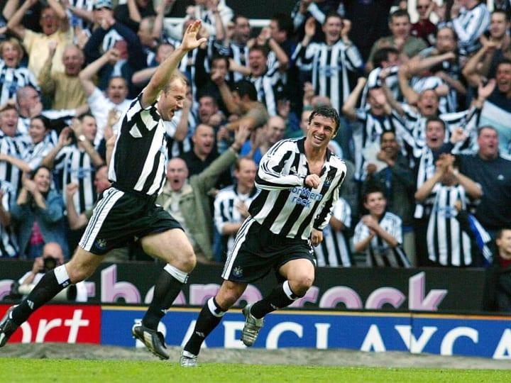 Newcastle United's Alan Shearer (L) cele