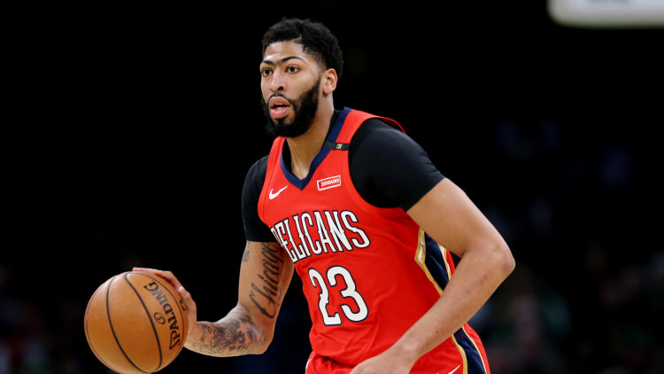 BOSTON, MA - DECEMBER 10: Anthony Davis #23 of the New Orleans Pelicans dribbles against the Boston Celtics at TD Garden on December 10, 2018 in Boston, Massachusetts. (Photo by Maddie Meyer/Getty Images)