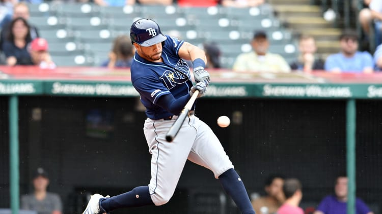 CLEVELAND, OHIO - MAY 26: Tommy Pham #29 of the Tampa Bay Rays hits an RBI single during the third inning against the Cleveland Indians at Progressive Field on May 26, 2019 in Cleveland, Ohio. (Photo by Jason Miller/Getty Images)