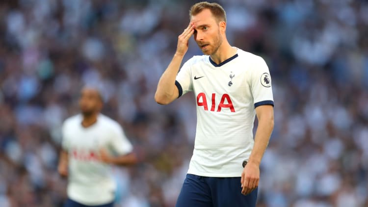 LONDON, ENGLAND - AUGUST 25:  Christian Eriksen of Tottenham Hotspur reacts during the Premier League match between Tottenham Hotspur and Newcastle United at Tottenham Hotspur Stadium on August 25, 2019 in London, United Kingdom. (Photo by Catherine Ivill/Getty Images)
