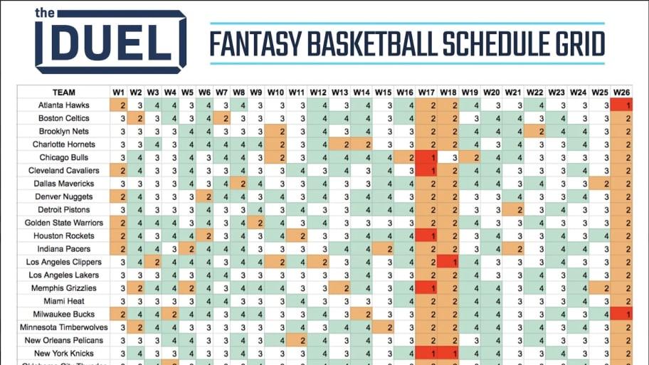 Printable Fantasy Basketball Schedule Grid For 2019-20 NBA