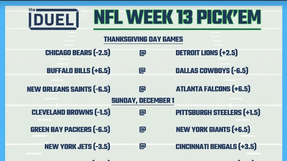 This is an image of Nfl Week 13 Printable Schedule for brackets
