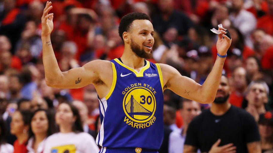TORONTO, ONTARIO - JUNE 10:  Stephen Curry #30 of the Golden State Warriors reacts against the Toronto Raptors in the second half during Game Five of the 2019 NBA Finals at Scotiabank Arena on June 10, 2019 in Toronto, Canada. NOTE TO USER: User expressly acknowledges and agrees that, by downloading and or using this photograph, User is consenting to the terms and conditions of the Getty Images License Agreement. (Photo by Gregory Shamus/Getty Images)