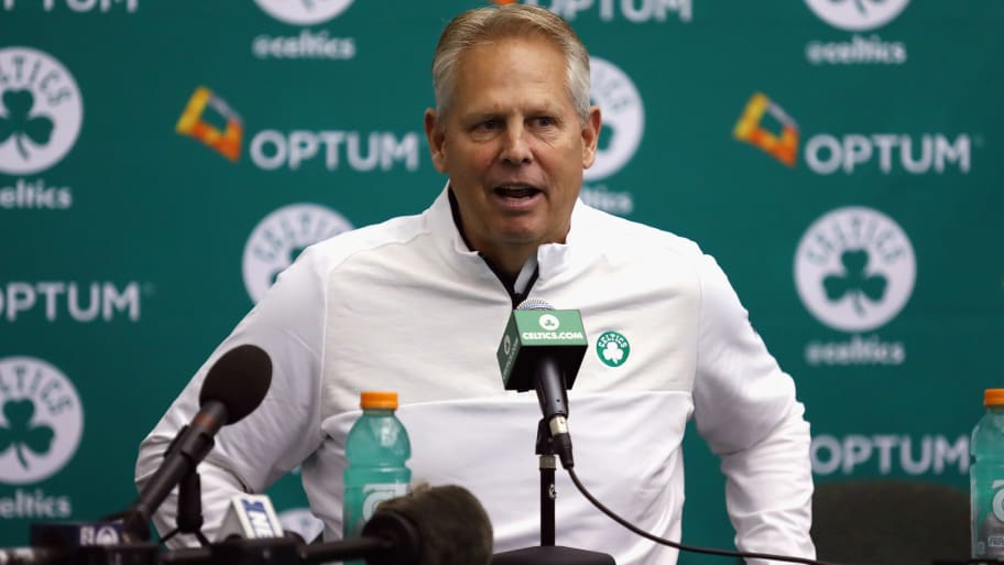 WALTHAM, MA - SEPTEMBER 26:  General manager Danny Ainge of the Boston Celtics speaks with the media during Boston Celtics Media Day on September 26, 2016 in Waltham, Massachusetts.  (Photo by Tim Bradbury/Getty Images)