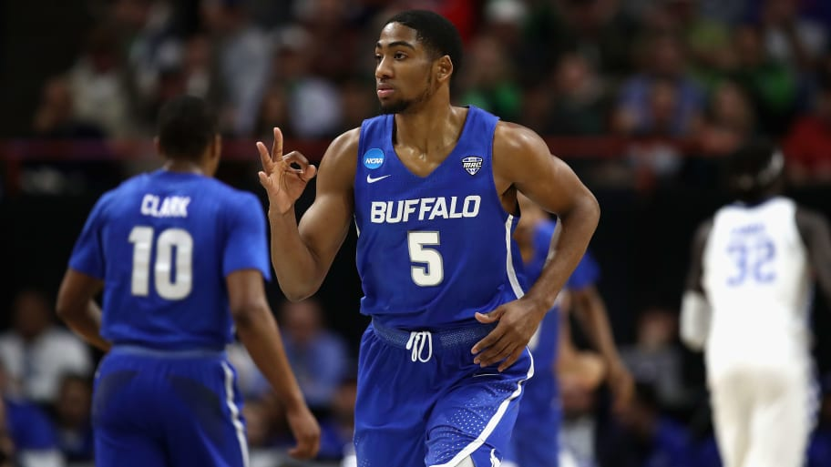 BOISE, ID - MARCH 17:  CJ Massinburg #5 of the Buffalo Bulls reacts during the first half against the Kentucky Wildcats in the second round of the 2018 NCAA Men's Basketball Tournament at Taco Bell Arena on March 17, 2018 in Boise, Idaho.  (Photo by Ezra Shaw/Getty Images)