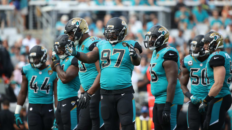 JACKSONVILLE, FL - NOVEMBER 05:  Members of the Jacksonville Jaguars defence wait on the field in the first half of their game against the Cincinnati Bengals at EverBank Field on November 5, 2017 in Jacksonville, Florida.  (Photo by Logan Bowles/Getty Images)