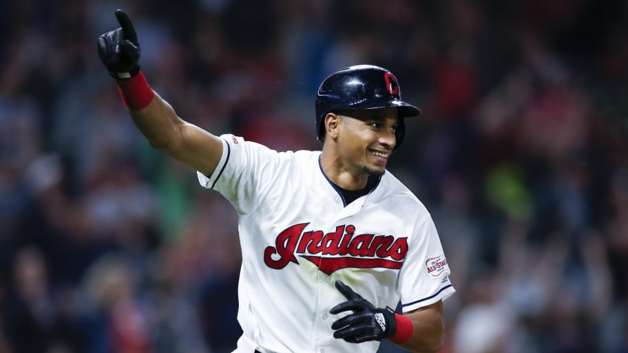 CLEVELAND, OH - JUNE 11: Oscar Mercado #35 of the Cleveland Indians celebrates after hitting the game winning single off Raisel Iglesias #26 of the Cincinnati Reds during the tenth inning at Progressive Field on June 11, 2019 in Cleveland, Ohio. The Indians defeated the Reds 2-1. (Photo by Ron Schwane/Getty Images)