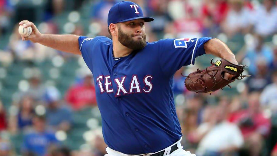 ARLINGTON, TEXAS - JUNE 17: Lance Lynn #35 of the Texas Rangers pitches against the Cleveland Indians in the top of the first inning at Globe Life Park in Arlington on June 17, 2019 in Arlington, Texas. (Photo by Tom Pennington/Getty Images)