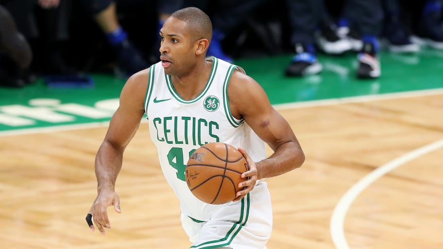 BOSTON, MASSACHUSETTS - JANUARY 04: Al Horford #42 of the Boston Celtics dribbles against the Dallas Mavericks during the first half at TD Garden on January 04, 2019 in Boston, Massachusetts. NOTE TO USER: User expressly acknowledges and agrees that, by downloading and or using this photograph, User is consenting to the terms and conditions of the Getty Images License Agreement. (Photo by Maddie Meyer/Getty Images)