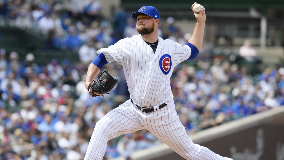 CHICAGO, ILLINOIS - JUNE 03: Jon Lester #34 of the Chicago Cubs pitches the ball in the first inning against the Los Angeles Angels at Wrigley Field on June 03, 2019 in Chicago, Illinois. (Photo by Quinn Harris/Getty Images)