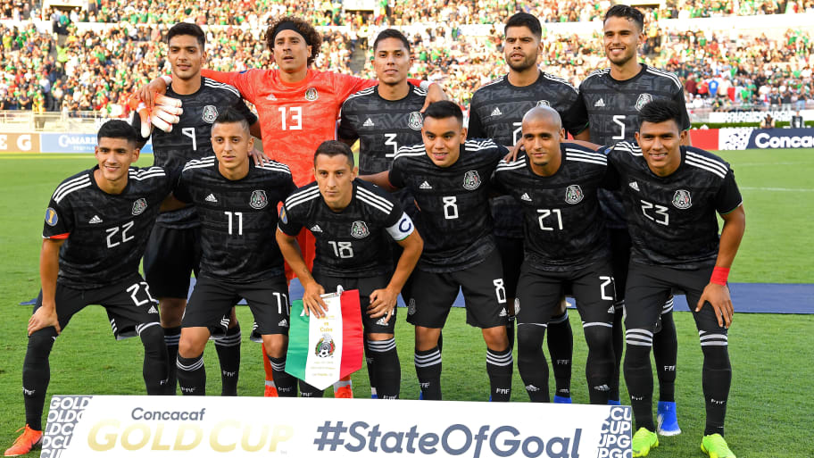 PASADENA, CA - JUNE 15:   The starting lineup for Mexico for the game against Cuba at the Rose Bowl on June 15, 2019 in Pasadena, California. (Photo by Jayne Kamin-Oncea/Getty Images)