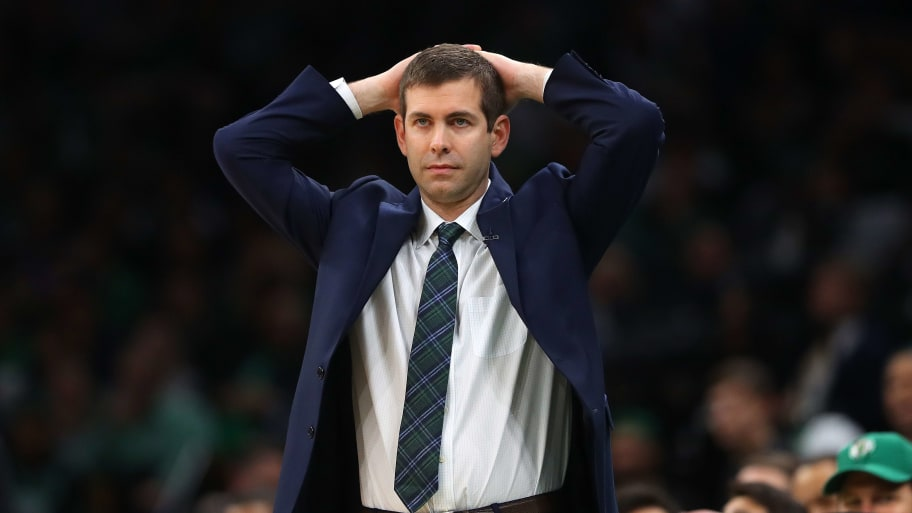 BOSTON, MASSACHUSETTS - MAY 03: Boston Celtics head coach Brad Stevens reacts during the second half of Game 3 of the Eastern Conference Semifinals of the 2019 NBA Playoffs at TD Garden on May 03, 2019 in Boston, Massachusetts. The Bucks defeat the Celtics 123 - 116.  (Photo by Maddie Meyer/Getty Images)
