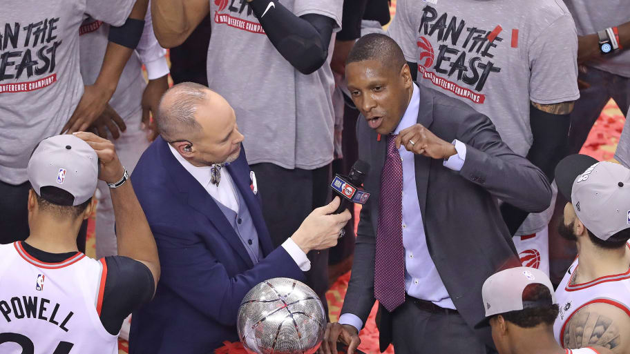 TORONTO, ON - MAY 25:  Toronto Raptors General Manager Masai Ujiri addresses the crowd after defeating the Milwaukee Bucks in Game Six of the NBA Eastern Conference Final at Scotiabank Arena on May 25, 2019 in Toronto, Ontario, Canada. NOTE TO USER: user expressly acknowledges and agrees by downloading and/or using this Photograph, user is consenting to the terms and conditions of the Getty Images Licence Agreement. (Photo by Claus Andersen/Getty Images)