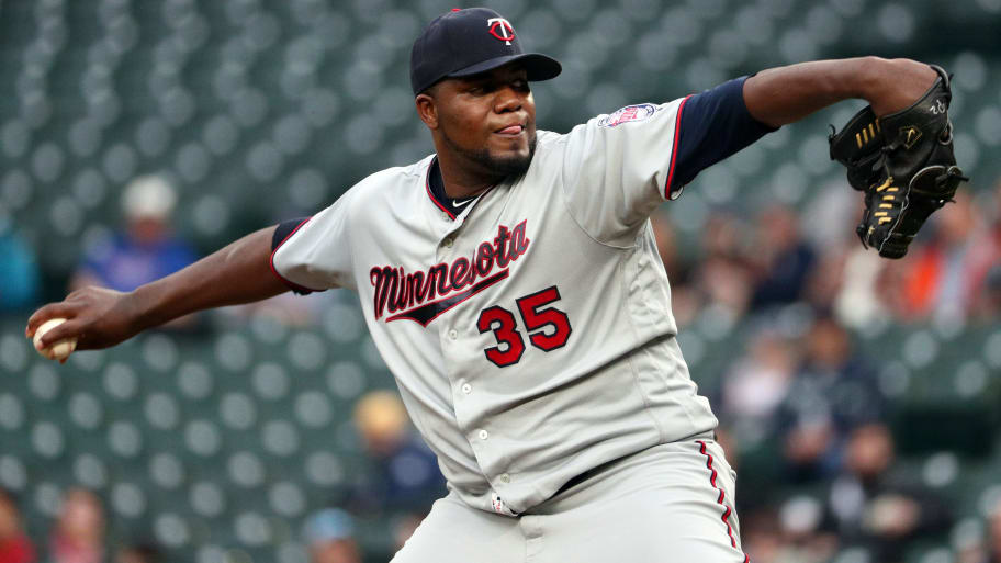 SEATTLE, WASHINGTON - MAY 16: Michael Pineda #35 of the Minnesota Twins pitches against the Seattle Mariners in the first inning during their game at T-Mobile Park on May 16, 2019 in Seattle, Washington. (Photo by Abbie Parr/Getty Images)