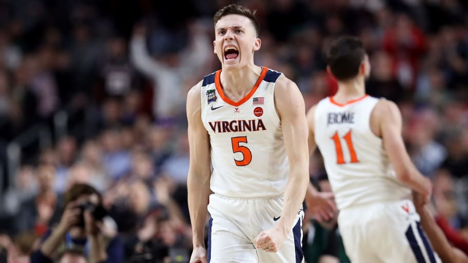 MINNEAPOLIS, MINNESOTA - APRIL 08:  Kyle Guy #5 of the Virginia Cavaliers celebrates the play against the Texas Tech Red Raiders in the second half during the 2019 NCAA men's Final Four National Championship game at U.S. Bank Stadium on April 08, 2019 in Minneapolis, Minnesota. (Photo by Streeter Lecka/Getty Images)