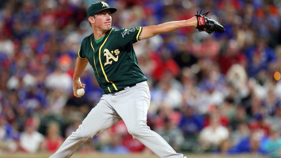 ARLINGTON, TEXAS - JUNE 08: Chris Bassitt #40 of the Oakland Athletics pitches in the third inning against the Texas Rangers during game two of a doubleheader at Globe Life Park in Arlington on June 08, 2019 in Arlington, Texas. (Photo by Richard Rodriguez/Getty Images)