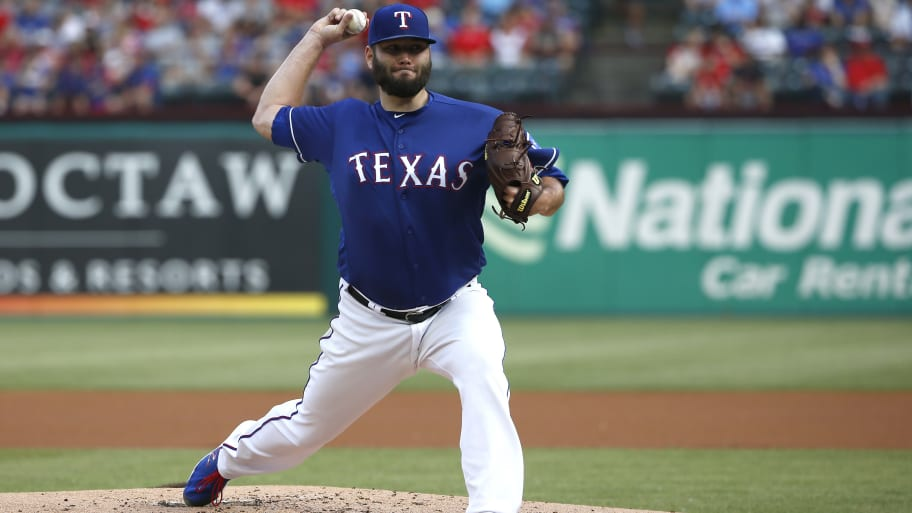 ARLINGTON, TX - JUNE 7: Lance Lynn #35 of the Texas Rangers throws against the Oakland Athletics during the first inning at Globe Life Park in Arlington on June 7, 2019 in Arlington, Texas. (Photo by Ron Jenkins/Getty Images)