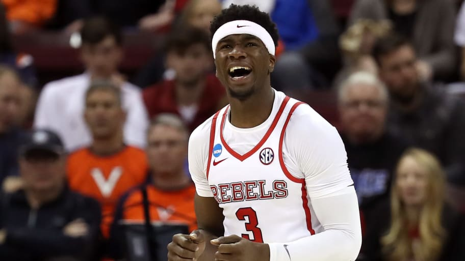 COLUMBIA, SOUTH CAROLINA - MARCH 22: Terence Davis #3 of the Mississippi Rebels reacts in the second half against the Oklahoma Sooners during the first round of the 2019 NCAA Men's Basketball Tournament at Colonial Life Arena on March 22, 2019 in Columbia, South Carolina. (Photo by Streeter Lecka/Getty Images)