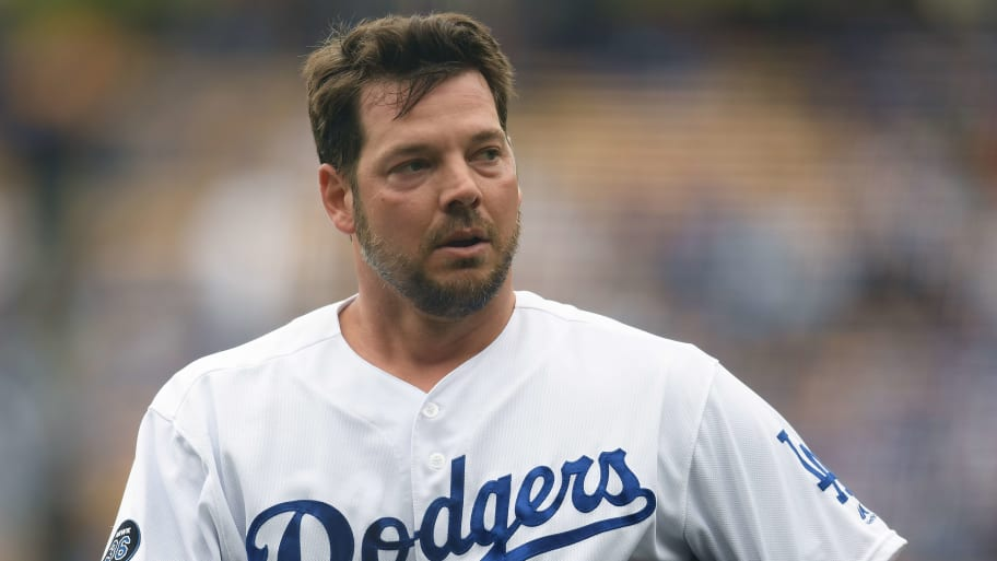 LOS ANGELES, CALIFORNIA - JUNE 02:  Rich Hill #44 of the Los Angeles Dodgers reacts at the end of the first inning against the Philadelphia Phillies at Dodger Stadium on June 02, 2019 in Los Angeles, California. (Photo by Harry How/Getty Images)