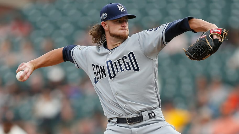 SAN FRANCISCO, CALIFORNIA - JUNE 11: Chris Paddack #59 of the San Diego Padres pitches in the top of the first inning against the San Francisco Giants at Oracle Park on June 11, 2019 in San Francisco, California. (Photo by Lachlan Cunningham/Getty Images)