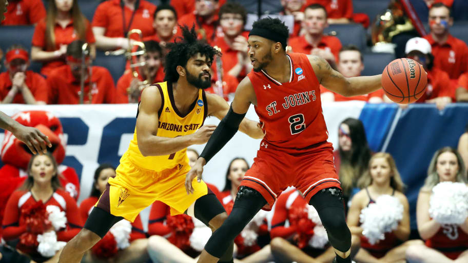 DAYTON, OHIO - MARCH 20: Shamorie Ponds #2 of the St. John's Red Storm handles the ball against Remy Martin #1 of the Arizona State Sun Devils during the second half in the First Four of the 2019 NCAA Men's Basketball Tournament at UD Arena on March 20, 2019 in Dayton, Ohio. (Photo by Gregory Shamus/Getty Images)