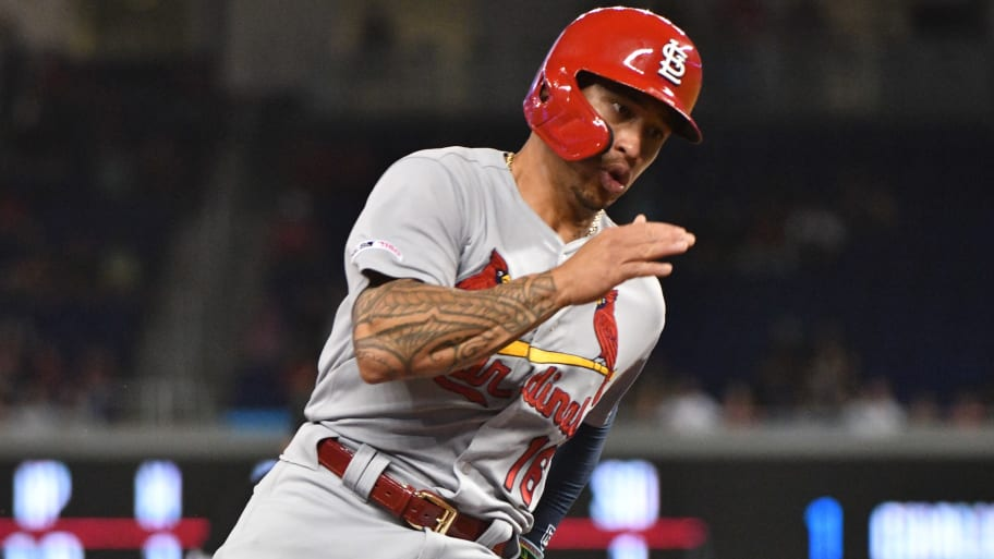 MIAMI, FL - JUNE 11:  Kolten Wong #16 of the St. Louis Cardinals runs the bases for a score in the second inning against the Miami Marlins at Marlins Park on June 11, 2019 in Miami, Florida. (Photo by Mark Brown/Getty Images)