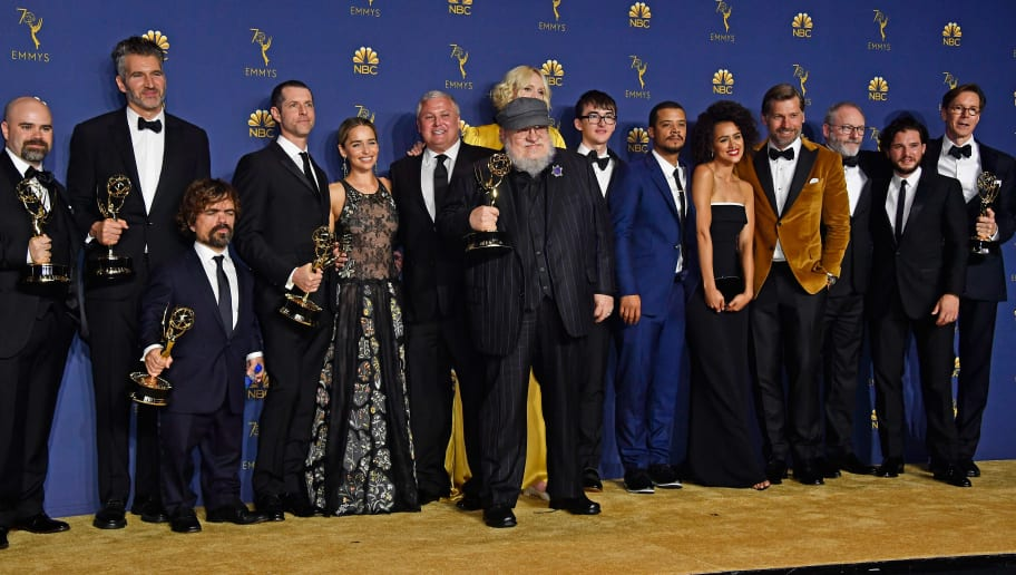LOS ANGELES, CA - SEPTEMBER 17:  Cast and crew of Outstanding Drama Series winner 'Game of Thrones' pose in the press room during the 70th Emmy Awards at Microsoft Theater on September 17, 2018 in Los Angeles, California.  (Photo by Frazer Harrison/Getty Images)