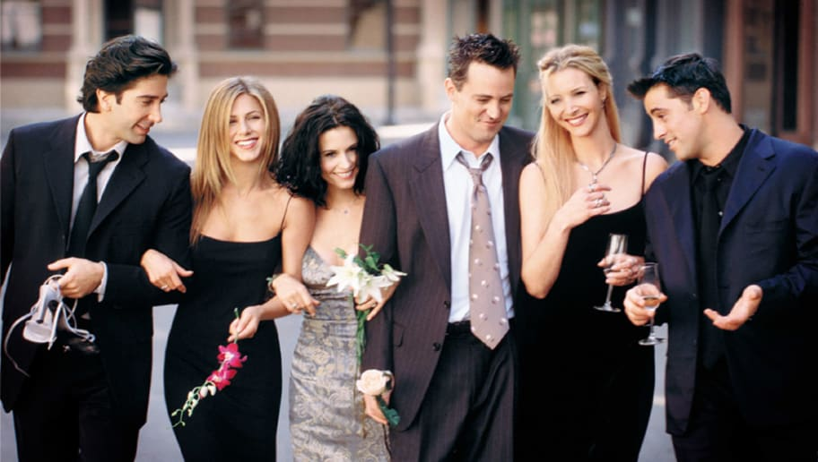 385848 15: Cast Members Of NBC's Comedy Series 'Friends.' Pictured (L To R): David Schwimmer As Ross Geller, Jennifer Aniston As Rachel Cook, Courteney Cox As Monica Geller, Matthew Perry As Chandler Bing, Lisa Kudrow As Phoebe Buffay And Matt Leblanc As Joey Tribbiani.  (Photo By Getty Images)