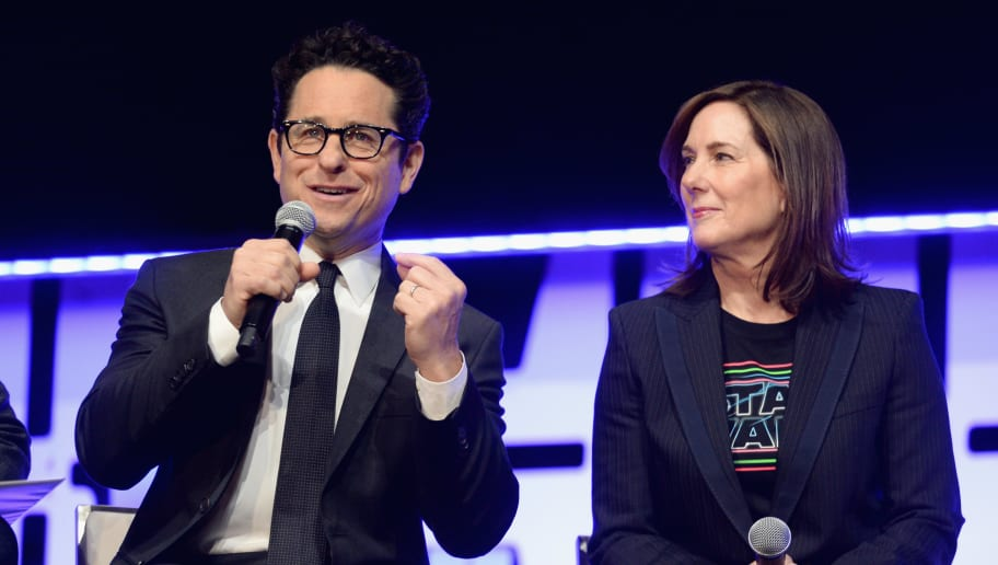 CHICAGO, IL - APRIL 12:  Director J.J. Abrams (L) and Producer Kathleen Kennedy onstage during 'The Rise of Skywalker' panel at the Star Wars Celebration at McCormick Place Convention Center on April 12, 2019 in Chicago, Illinois.  (Photo by Daniel Boczarski/Getty Images for Disney )