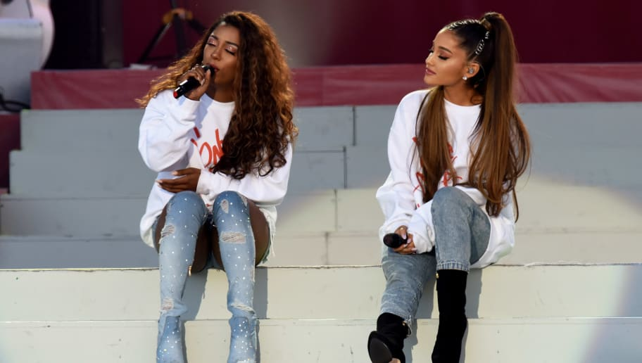 MANCHESTER, ENGLAND - JUNE 04:  NO SALES, free for editorial use. In this handout provided by 'One Love Manchester' benefit concert (L) Victoria Monet and Ariana Grande perform on stage on June 4, 2017 in Manchester, England. Donate at www.redcross.org.uk/love  (Photo by Getty Images/Dave Hogan for One Love Manchester)
