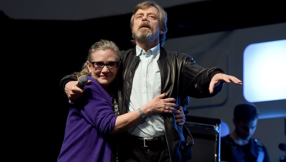 LONDON, ENGLAND - JULY 17:  Mark Hamill and Carrie Fisher on stage during Future Directors Panel at the Star Wars Celebration 2016 at ExCel on July 17, 2016 in London, England.  (Photo by Ben A. Pruchnie/Getty Images for Walt Disney Studios).