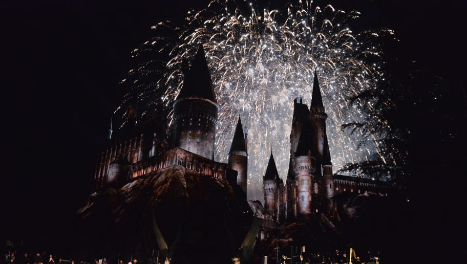 UNIVERSAL CITY, CALIFORNIA - APRIL 05:  View of fireworks behind the Hogwarts castle at the opening of the Universal Studios' 'Wizarding World of Harry Potter Opening' at Universal Studios Hollywood on April 5, 2016 in Universal City, California  (Photo by Matt Winkelmeyer/Getty Images)
